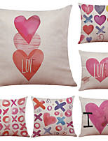Set of 6 Cute Love Illustrator Pattern Linen Pillowcase Sofa Home Decor Cushion Cover  Throw Pillow Case (18*18inch)