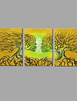 Hand-Painted Abstract Oil Painting Yellow branches Kiss between husband and wife With Stretcher Frame Ready To Hang