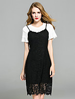YIYEXINXIANGWomen's Going out Casual/Daily Sophisticated Summer T-shirt Dress SuitsSolid Round Neck Short Sleeve Lace Cut Out strenchy