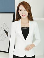 Women's Wedding Street chic All Seasons Blazer,Solid V Neck Long Sleeve Regular Silk