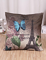 1 Pcs Retro Butterfly With Eiffel Tower Pillow Cover Creative Pillow Case Home Decor