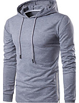 Men's Daily Hoodie Solid Hooded Inelastic Cotton Long Sleeve Fall