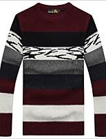 Herren Standard Pullover-Lässig/Alltäglich Einfach Einfarbig Schachbrett Rundhalsausschnitt Langarm Wolle Frühling Herbst Mittel