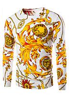 Men's Casual/Daily Chinoiserie Regular Pullover,Animal Print Round Neck Long Sleeve Cotton Fall Medium Micro-elastic