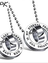 Для пары Ожерелья с подвесками Цирконий Круглой формы Циркон Титановая стальКруглый дизайн Уникальный дизайн В виде подвески Мода