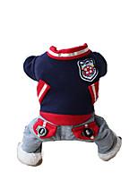 Chien Combinaison-pantalon Vêtements pour Chien Décontracté / Quotidien Brodée Bleu de minuit Rouge