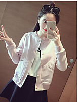 Women's Daily Casual Street chic Spring Fur Coat,Solid Round Neck Short Sleeve Regular Rayon