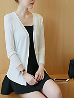 Women's Casual/Daily Chinoiserie Regular Cardigan,Solid Strapless Long Sleeve Cotton Spring Thin Micro-elastic