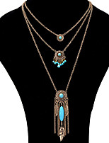 Pendant Necklace Layered Necklaces Women's Vintage Tassel Alloy Euramerican Bohemian Party Daily Movie Jewelry