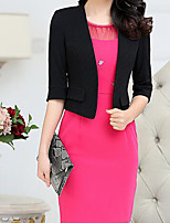 Women's Wedding Party Simple Chinoiserie Spring Blazer,Solid Peter Pan Collar 3/4 Sleeve Short Others