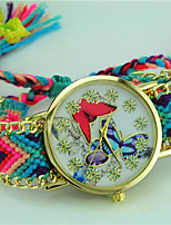 Femme Bracelet de Montre Quartz Tissu Bande Papillon Bohème Bayadère