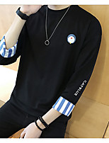 Men's Other Sweatshirt Solid Round Neck Inelastic Others 3/4 Length Sleeve Fall