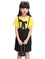 Девочки Наборы Хлопок Однотонные Лето С короткими рукавами Набор одежды