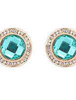 Europe Exquisite Fashion Round Gemstone Stud Earrings Lady Daily Stud Earrings Movie Jewelry