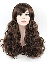 Brown Color Synthetic Hair Women Long Wavy Wig High Temperature Wigs