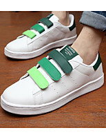 Men's Sneakers Comfort Canvas PU Spring Casual Black White/Silver White/Green Flat
