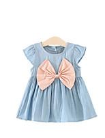Девичий Платье Акрил Джинса Бант Осень Лето С короткими рукавами
