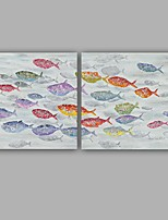 100%  Hand-Painted Abstract / Fish Modern / Classic Two Panel Canvas Oil Painting For Home Decoration