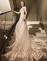 A-line Wedding Dress Cathedral Train Straps Tulle with Appliques Beading Crystal Lace