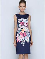Courte Robe Femme Travail Grandes Tailles simple,Fleur Col Arrondi Mi-long Sans Manches Polyester Eté Taille Normale Non Elastique Fin