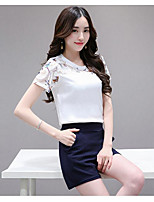 Women's Casual/Daily Simple Summer T-shirt Skirt Suits,Solid Round Neck Short Sleeve