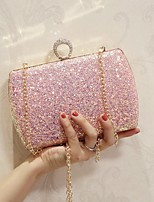 Women Shoulder Bag PU All Seasons Event/Party Casual Date Club Baguette Rhinestone Magnetic Blushing Pink White