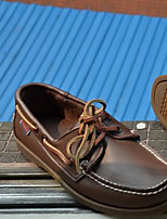 Men's Boat Shoes Comfort Real Leather Spring Casual Comfort Brown Flat