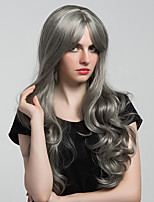 Elegant Gray Long Wavy Hair Synthetic Wig For Women