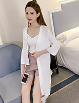 Women's Date Casual/Daily Long Cardigan,Solid Peter Pan Collar Long Sleeve Other Summer Thin Micro-elastic