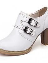 Women's Heels Leatherette PU Summer Fall Walking Buckle Chunky Heel White Beige Blushing Pink 3in-3 3/4in