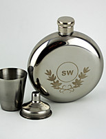 Personalized 3-pieces Stainless Steel Hip Flasks 5-oz Silver Flask Gift Set