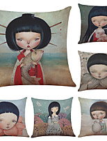 Set of 6 Hand-painted Japanese Dolls Pattern Linen Pillowcase Sofa Home Decor Cushion Cover  Throw Pillow Case (18*18inch)