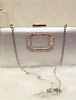 Women Evening Bag PU All Seasons Event/Party Party & Evening Club Baguette Magnetic Silver