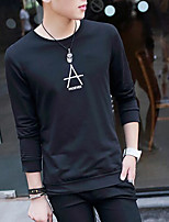 Men's Casual/Daily Sweatshirt Solid Round Neck strenchy Long Sleeve Spring