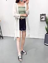 Standard Cardigan Da donna-Per uscire Casual Semplice Moda città Tinta unita All'americana Manica lunga Lana Primavera Medio spessore
