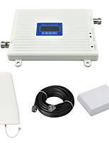 W-CDMA 2100mhz Mobile Phone Signal Booster UMTS 3G Repeater Signal Amplifier with Log Periodic Antenna / Panel Antenna / Cable / LCD Display / White