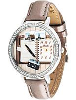 Mulheres Relógio de Moda Quartzo Digital Impermeável PU Banda Marrom
