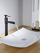 Contemporary Centerset Waterfall Widespread Pre Rinse with  Ceramic Valve Single Handle One Hole for  Oil-rubbed Bronze  Bathroom Sink Faucet
