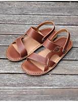 Men's Sandals Nappa Leather Spring Black Brown Flat