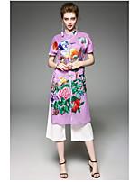 Для женщин Повседневные Весна Пальто Воротник-стойка,Современный Вышивка Длинная С короткими рукавами,Полиэстер