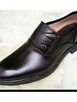 Для мужчин Туфли на шнуровке Удобная обувь Кожа Весна Повседневные Удобная обувь Черный На плоской подошве