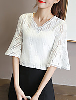 Women's Going out Casual/Daily Simple Sophisticated All Seasons Blouse,Solid V Neck ½ Length Sleeve Rayon