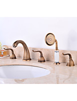 Contemporary Antique Widespread Widespread Pullout Spray with  Brass Valve Three Handles Five Holes for  Antique Copper , Bathroom Sink