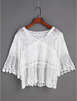 Women's Daily Casual Going out Cute Spring Summer Shirt,Solid Lace V Neck Long Sleeve Lace Thin