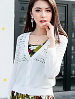 Women's Going out Vintage Regular Cardigan,Solid V Neck Long Sleeve Cotton Summer Thin Micro-elastic