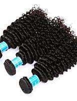 Натуральные волосы Перуанские волосы Человека ткет Волосы Kinky Curly Наращивание волос 3 предмета Черный