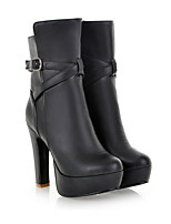 Women's Boots PU Fall Winter Chunky Heel White Black Almond 3in-3 3/4in