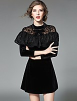 Women's Going out Casual/Daily Sheath Lace Dress,Solid Round Neck Mini Long Sleeve Polyester Summer Mid Rise Micro-elastic Medium