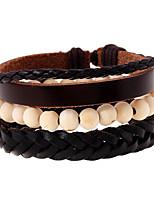 Retro Minimalist Leather Braided Beaded Bracelet