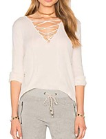 Women's Going out Casual/Daily Simple T-shirt,Solid V Neck Long Sleeve Cotton